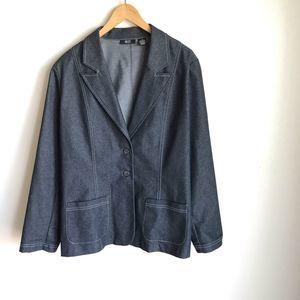 Ralsey Plus Sz Denim Jacket Blue Wash White Trim